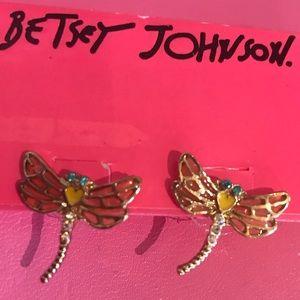 Dragonfly yellow heart earrings Betsey Johnson vtg
